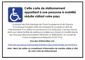 Disabled France Parking Pass Required in Addition to U.S. Disabled Parking Pass